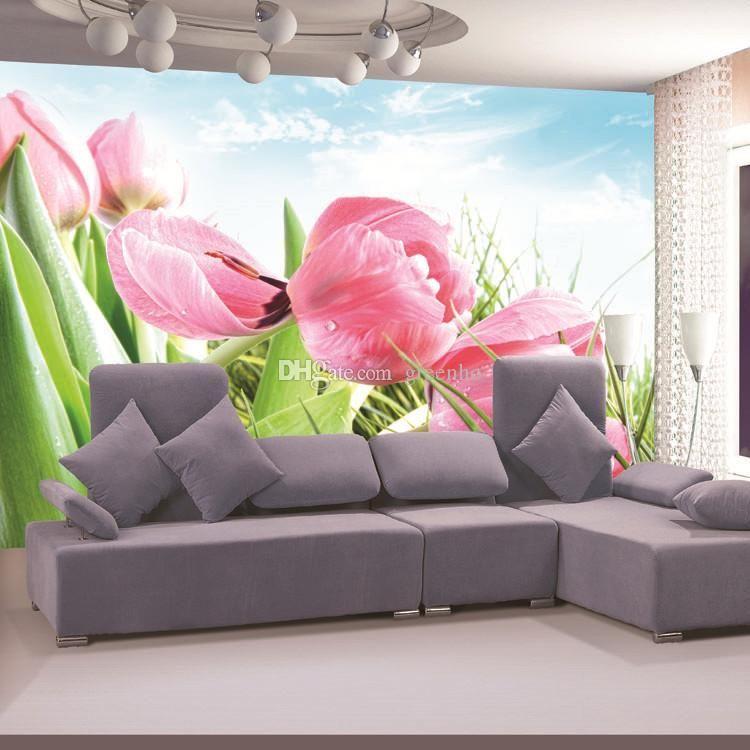 Elegant Pink Tulip Photo wallpaper 3D Flower Wall Mural Morning dew ...