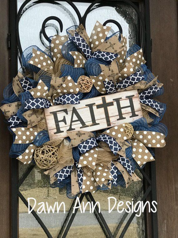 Photo of Christian faith wreath for front door burlap. large wreath Jesus cross faith, gift for mom Mother's Day gift