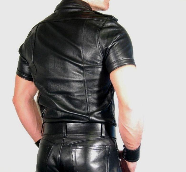 Lederhemd schwarz leather shirt new  black leather uniform gay  Police shirt