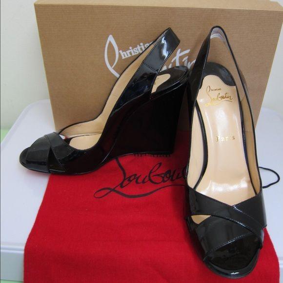 e9109ca66cf3 NIB Christian Louboutin Black Patent Wedge Heel 39 New in Box! Christian  Louboutin Black Patent