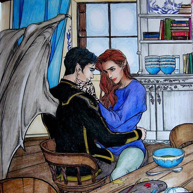 Rhys And Feyre From A Court Of Thorns And Roses Colouring Book