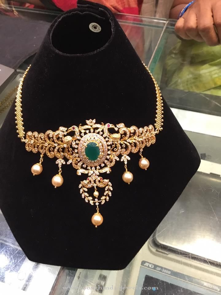22k Gold Emerald Necklace With Weight Details South India Jewels Gold Jewelry Earrings Jewelry Bracelets Gold Emerald Necklace