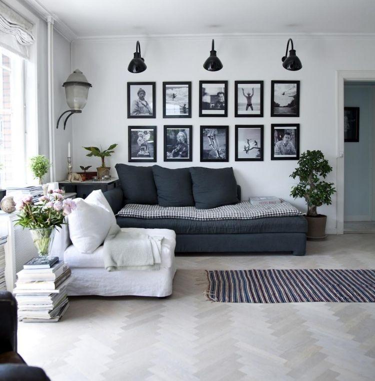 Kreative Wandgestaltung Mit Farbe: Wandgestaltung Mit Bildern Im Wohnzimmer