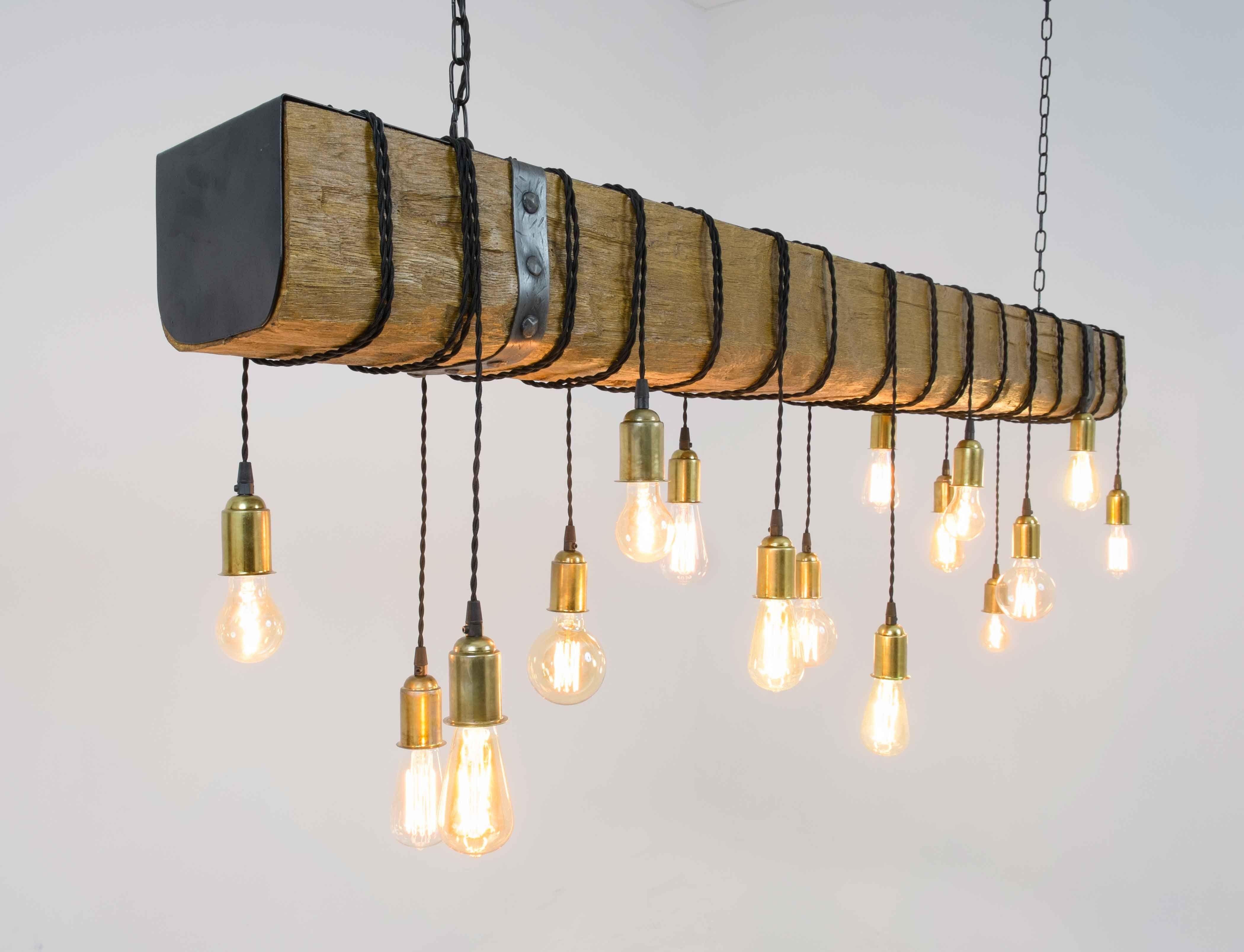 Lampara viga madera sint tica 2m l mparas colgantes - Llaves de luz rusticas ...