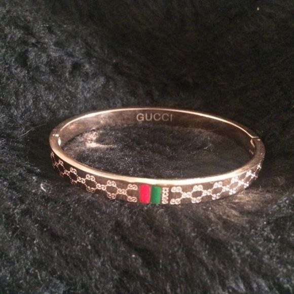 Gucci Bracelet Bronze Gold Bangle Clip Bronzed Not Real
