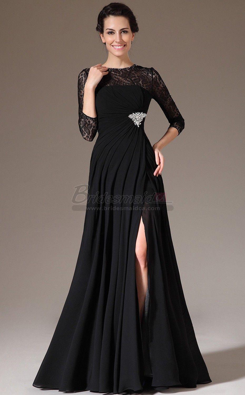 Jewel neck long chiffon and lace black mermaid bridesmaid dress jt