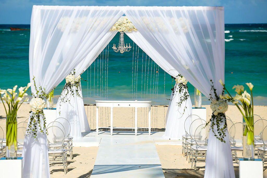 Incredible Beach Wedding White Gazebo With An Extra Arch