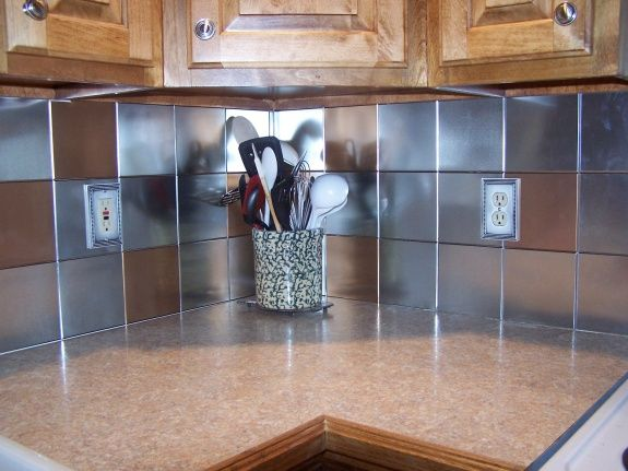 Tin Ceiling Tiles As A Kitchen Backsplash, I Think The Mixing Of The  Stainless/