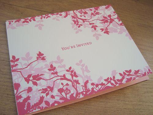 screen print Pink flower screen printing wedding invitations