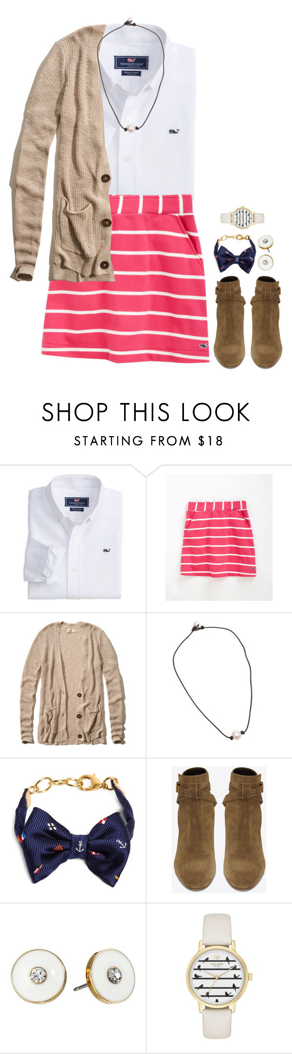 """Basketball banquet tonight"" by meganjoleen ❤ liked on Polyvore featuring Vineyard Vines, Hollister Co., Brooks Brothers, Yves Saint Laurent and Kate Spade"