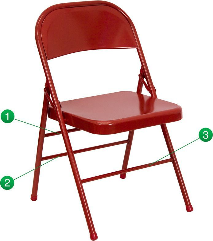 Good Triple Braced U0026 Double Hinged Metal Folding Chair Shipping Weight: 8.14  Lbs. Seat Size