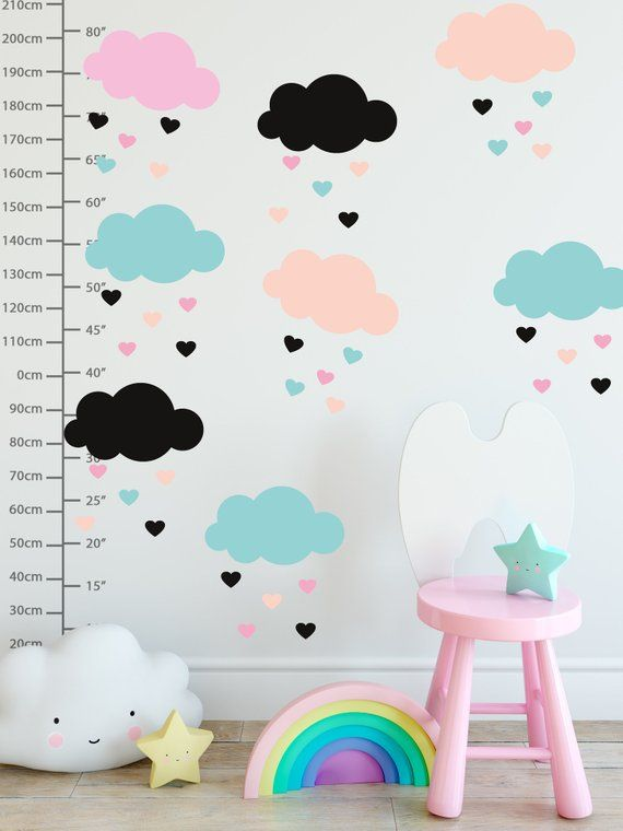 Kids Wall Decal Cloud Wall Sticker Little Heart Peel And Stick Pink Clouds Colorful Rain For Nursery Heart Wall Decal Nursery Wall Decals Cloud Wall Decal