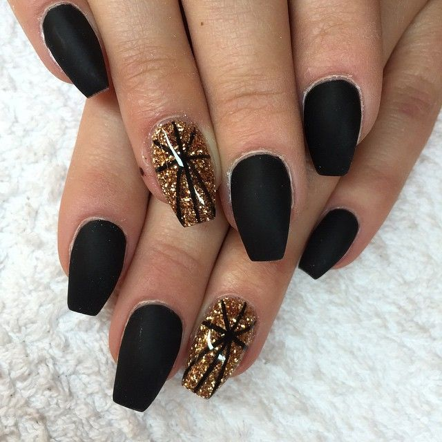Matte Black And Gold Nail Design Gold Nails Gold Nail Designs Black Coffin Nails