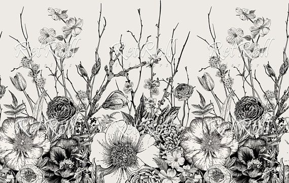 Black Meadow Removable Wallpaper Design Wall Covering Etsy Mural Wallpaper Wallpapers Vintage Botanical Illustration