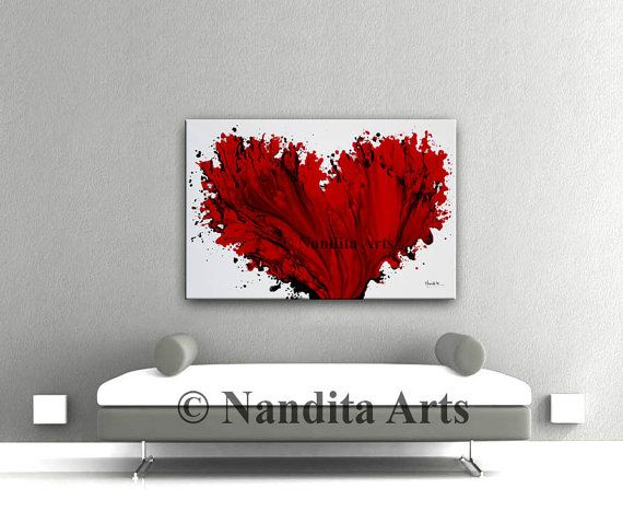 Arte rojo original pintura sobre lienzo corazón rojo