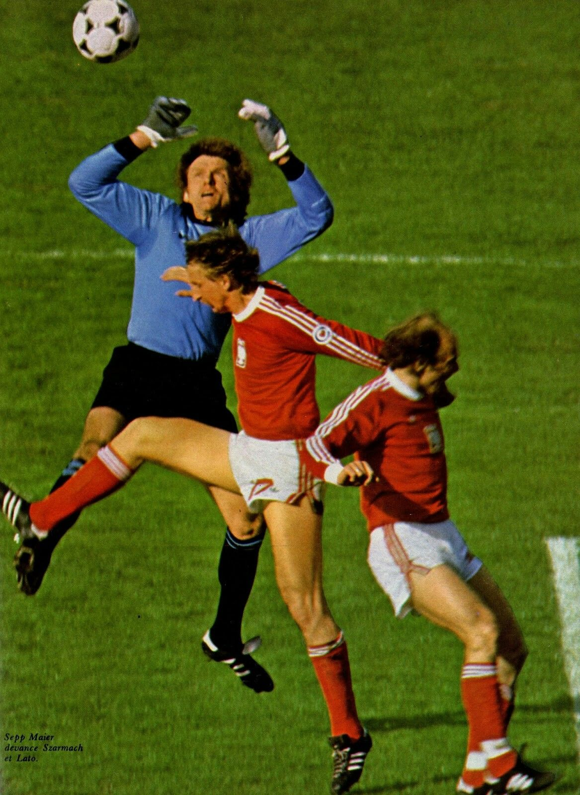 West Germany 0 Poland 0 in 1978 in Buenos Aires. German keeper Sepp Maier comes to deal with this cross in Group 2 at the World Cup Finals.