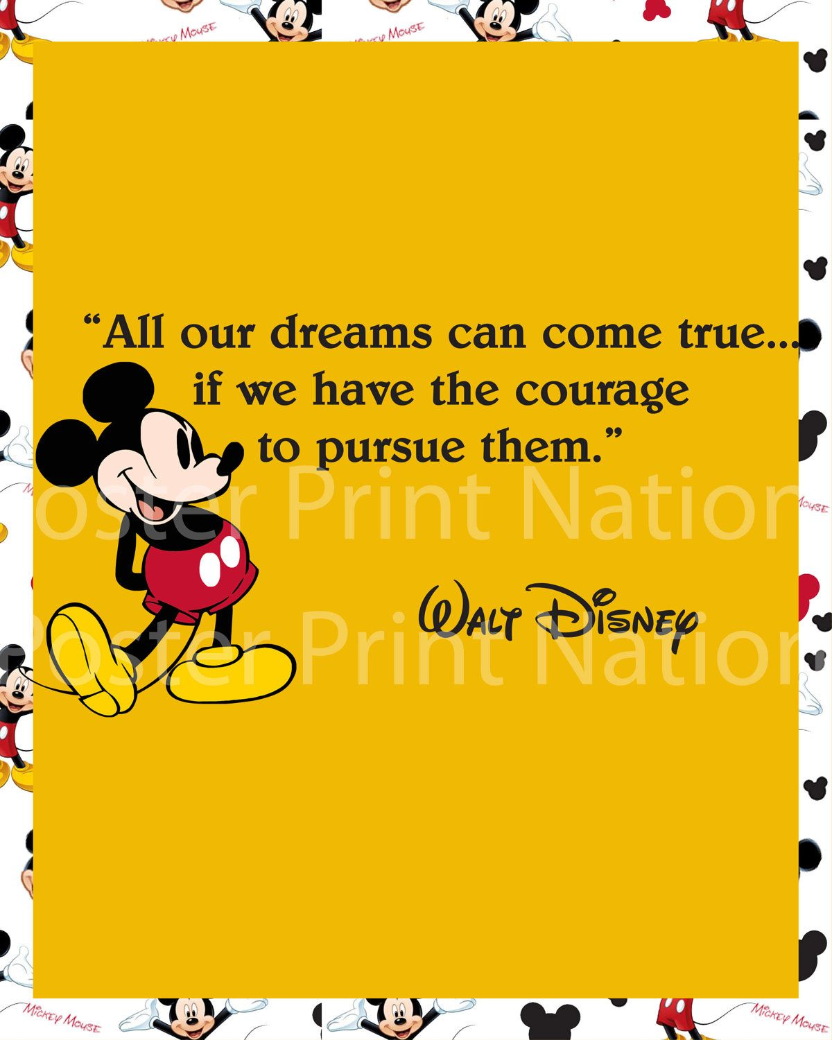 8x10 All Our DREAMS Can COME TRUE Mickey Mouse Walt Disney Quote art ...