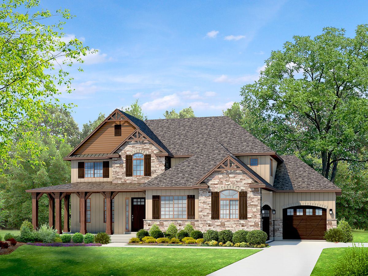 Mountain Rustic two story house plan | Craftsman style ...