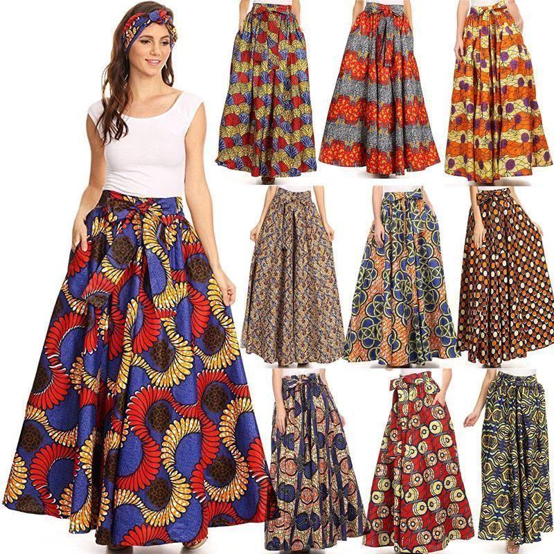 3fb39e55d4 African Ankara Print Maxi Skirt Boho Floral Print High Waist Beach Maxi  Dress