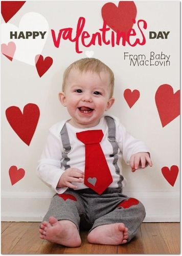 Happy valentines day diy baby photo shoot card by tiny prints