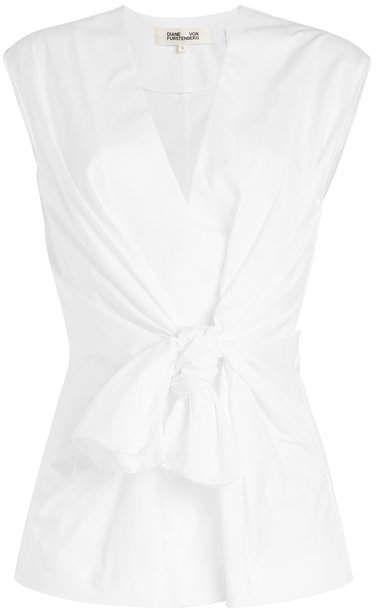 b97b5ebb1d41d3 Diane von Furstenberg Sleeveless Cotton Waist Tie Blouse
