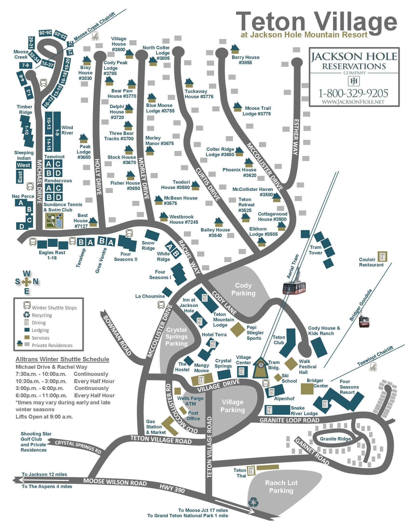 Teton Village Map Teton Village is 12 miles northwest of Jackson
