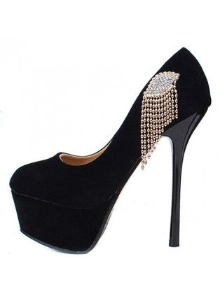 round toe metal diamond chains platform suede black high