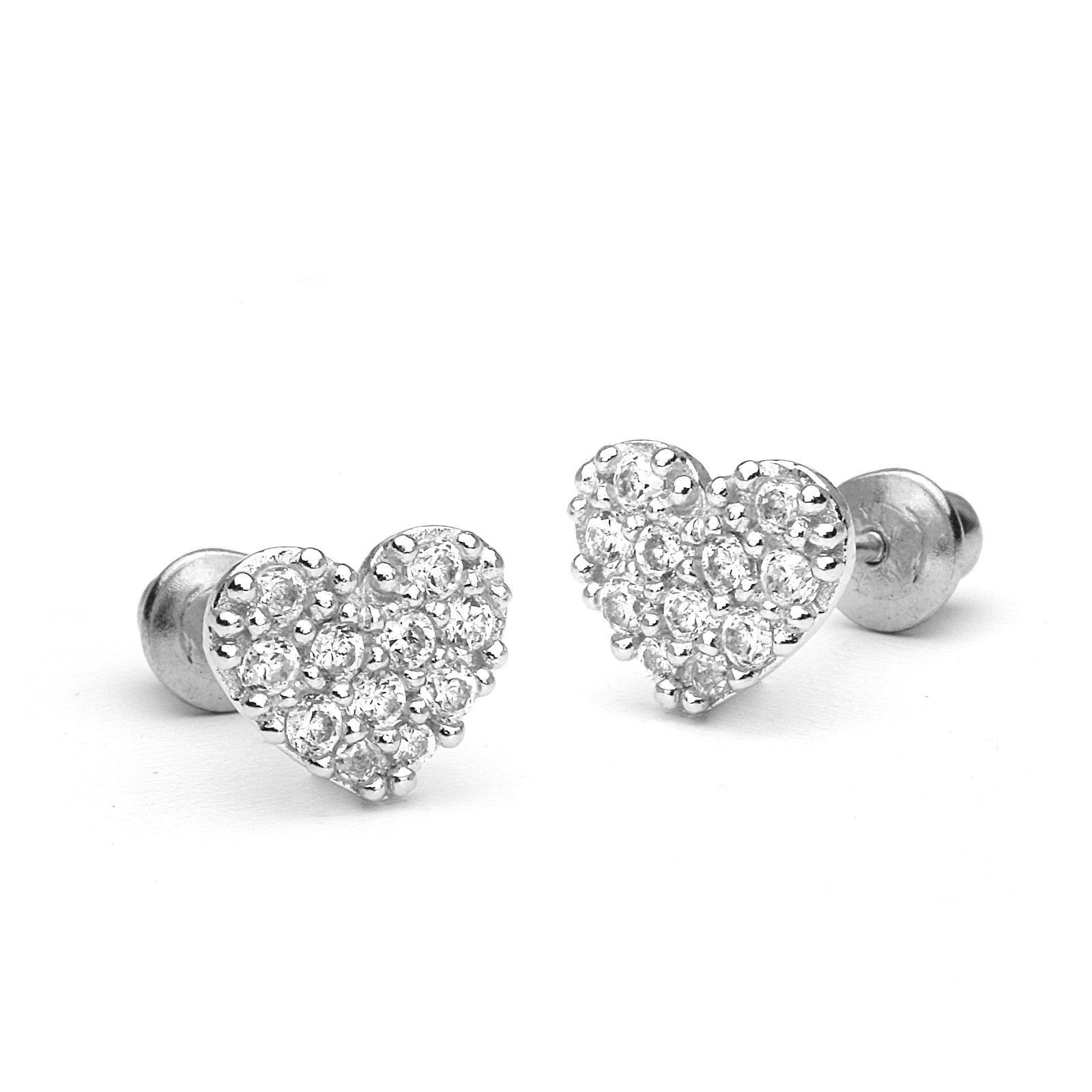 bc404e06a 925 Sterling Silver Pave Heart Children Screwback Baby Girls Earrings