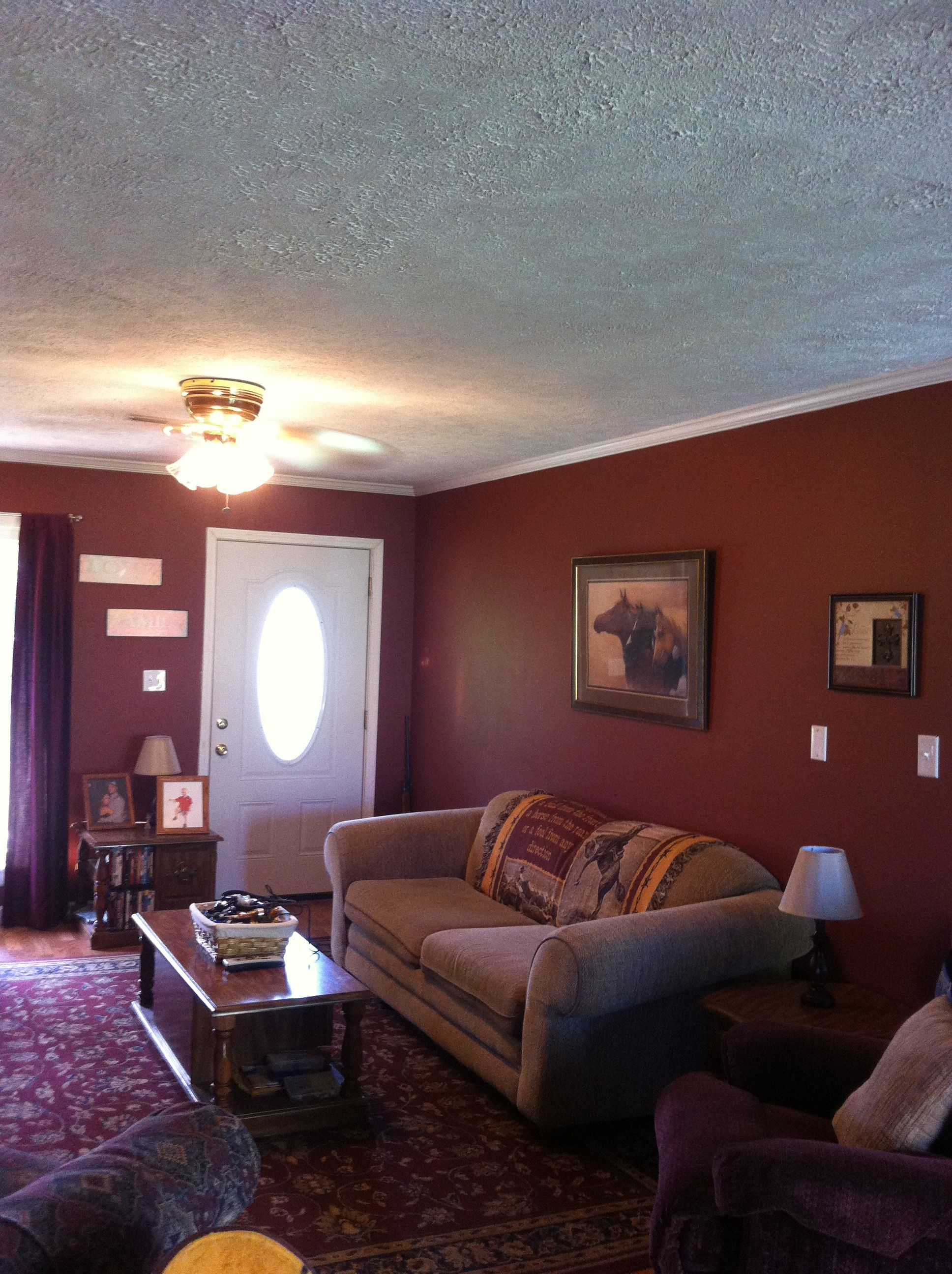 Maroon Walls Paint Rustic With Images Maroon Living Room