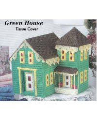 Green House Tissue Cover | Plastic Canvas Pattern