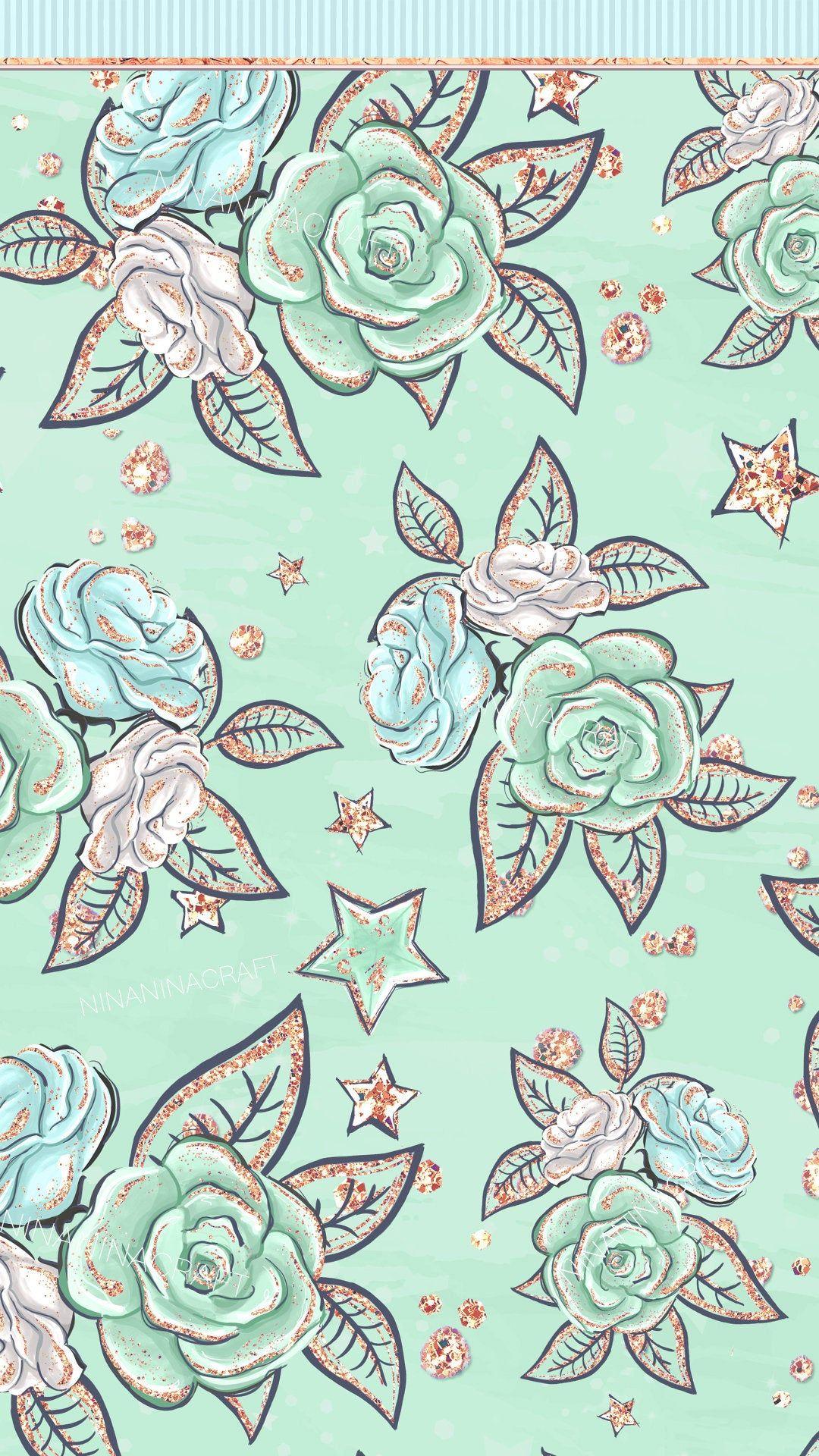 Cute Mint Green Clip Art, Pretty Glitter Planner Stickers