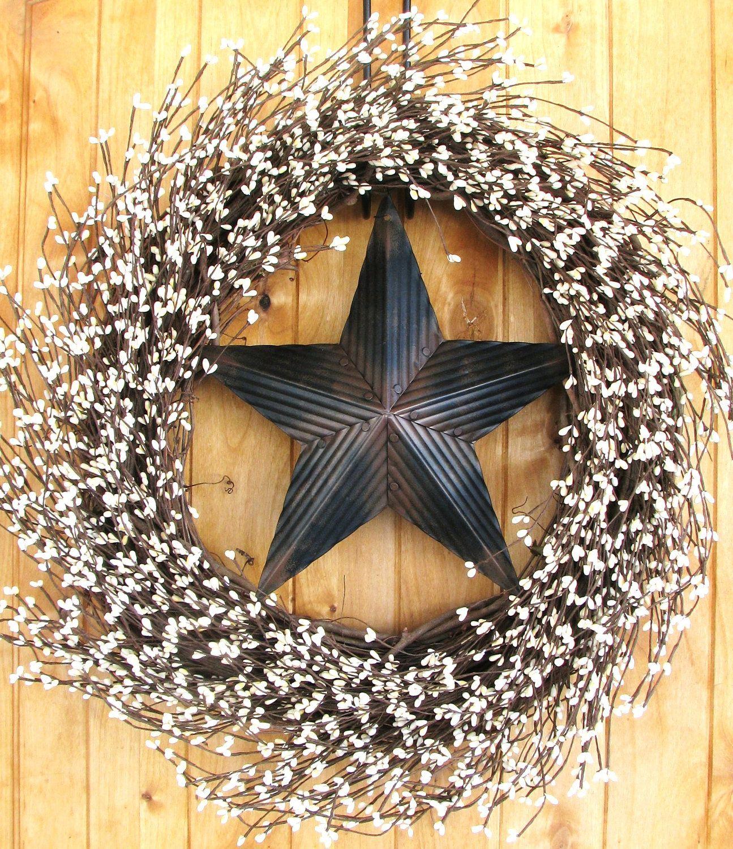 Primitive Door Wreath-Rustic BARN STAR Wreath-Primitive