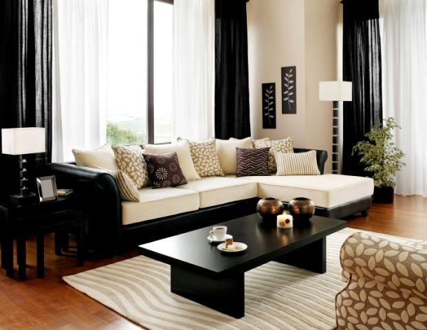 Cream black living room ideas how to use neutral colours - Black and cream living room decor ...