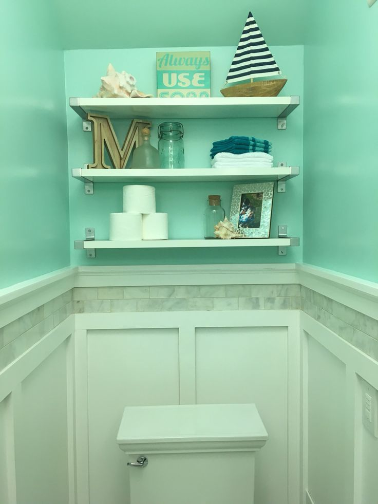 White #IKEA #shelves, #marble #accent #on #board #and #batten #wall #treatment, #and #white #sandy #beach #water #paint #color. #boardandbattenwall
