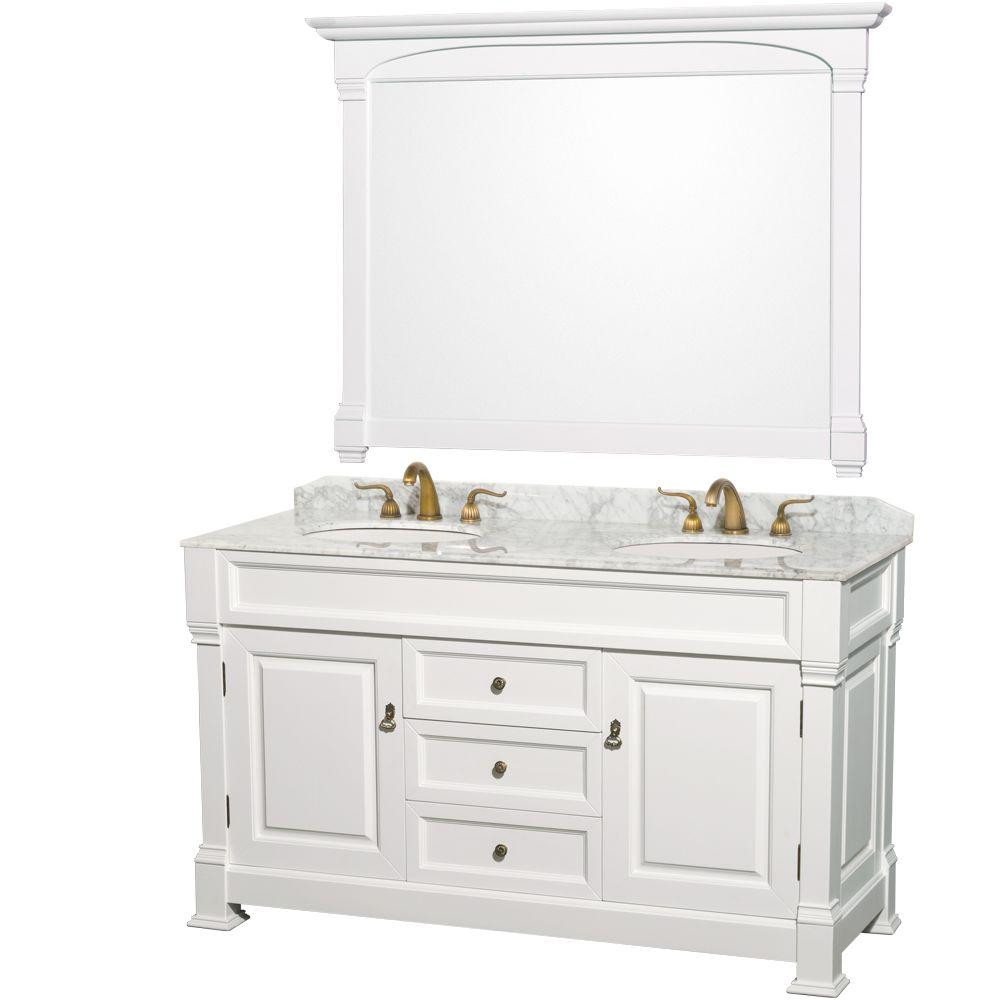 Wyndham Collection Andover 60 In. Double Vanity In White With Marble Vanity  Top In Carrara
