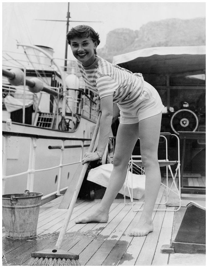Audrey Hepburn on the deck of a yacht, circa 1955. (Photo by Pictorial Parade:Hulton Archive:Getty Images)
