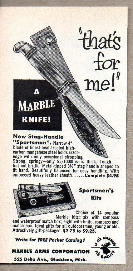1955 Print Ad Marble Stag Handle Sportsman Knife Knives Gladstone Mi Knife Print Ads Stag