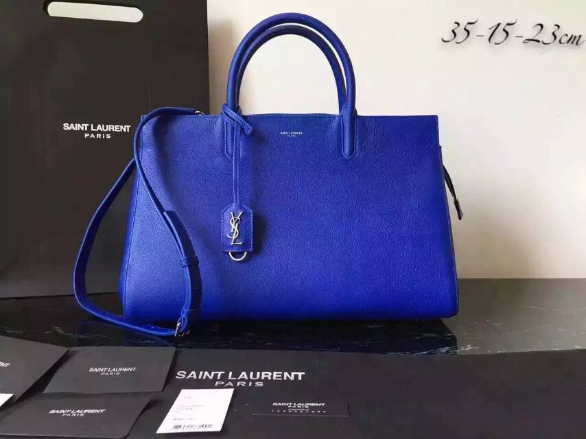 5b7f5cb671 S S 2015 New Saint Laurent Bag Cheap Sale-Saint Laurent Medium Cabas RIVE  GAUCHE Bag in Electric Blue Grained Leather