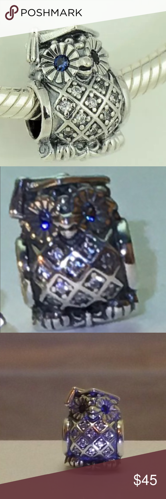 "PANDORA ""GRADUATE OWL"" GIFT CHARM AUTHENTIC PANDORA S925 ALE SOLID STERLING SILVER CLEAR CUBIC ZIRCONIA BRAND NEW IN ORIGINAL PANDORA BOX FOR GIFTING SHIPS IMMEDIATELY Pandora Jewelry Bracelets"