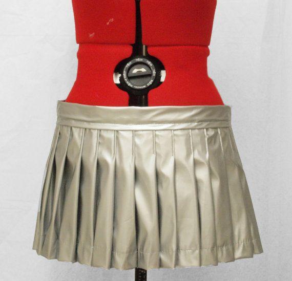 Silver Vinyl Pleaded Skirt- Ready to ship