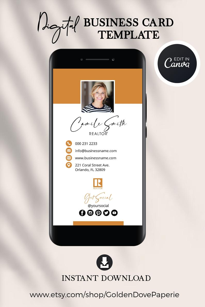 Digital Business Card Canva Template Real Estate Business Card Realtor Digital Business Card Modern Business Card Real Estate Marketing Digital Business Card Realtor Business Cards Photo Business Cards