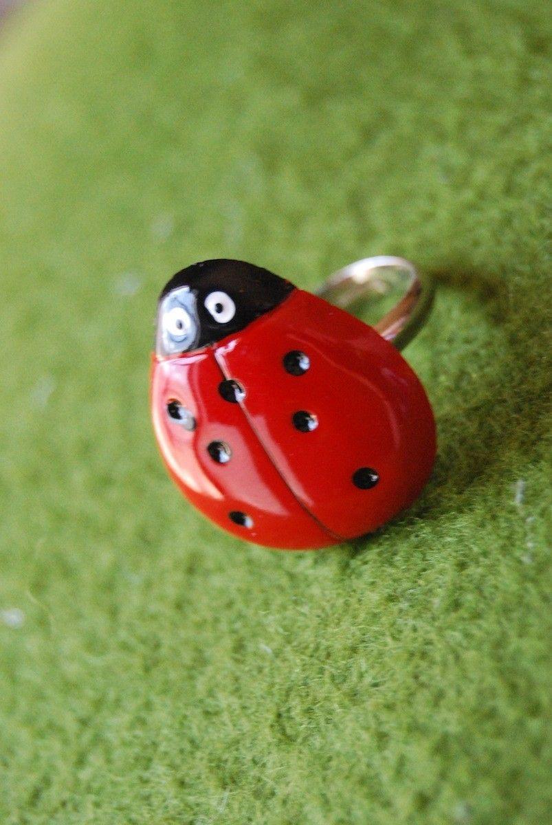 ladybug ring. $5.00, via Etsy.