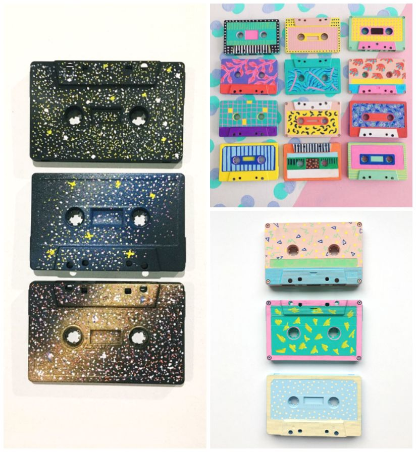 Upcycled Cassette Tape Art The 80s Are Back Cassette Tape Art Tape Crafts Tape Art