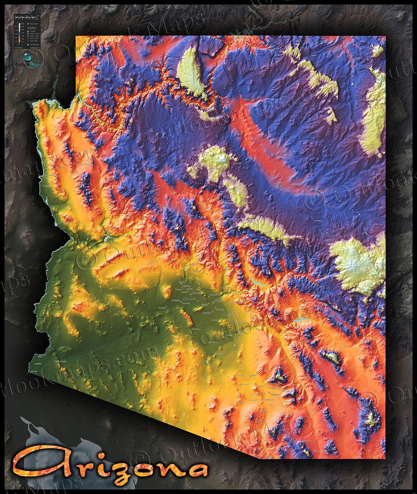 Topographical Map Of Arizona.Arizona Topographic Map New House Pinterest Wall Maps