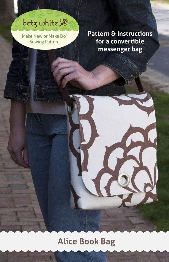 Alice Book Bag PDF Sewing Pattern   Bolsos, Patrones de costura y ...