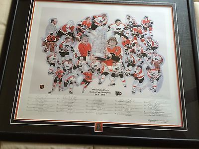 PHILA FLYERS STANLEY CUP CHAMPIONS 1974-1975 LTD ED. PRINT BY JERRY THIERROLF