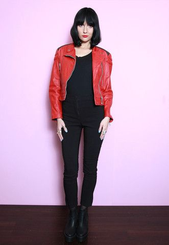 Vintage 1980's Rich Red and Black Leather Moto Jacket | Peekaboo Vintage Clothing