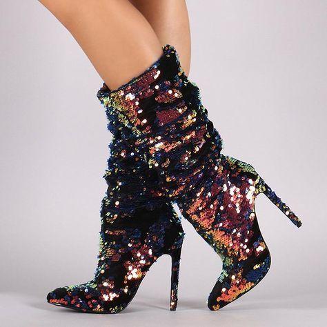 bebdf8363907 Glitter Slip-On Stiletto Heel Fashion Boots