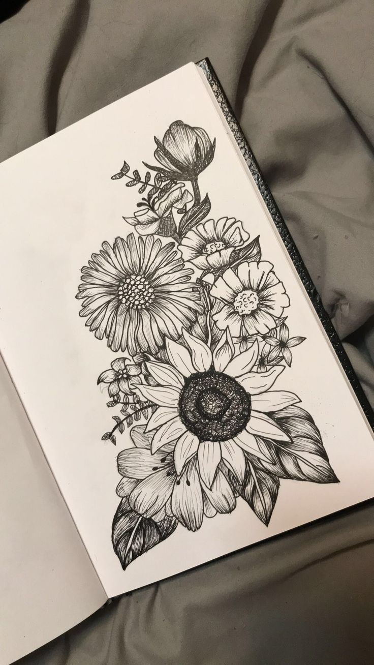 Piercing above lip to the side  Passion flower above sunflower and poppies on the right hand side