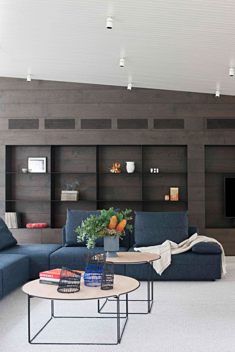 Rammed Earth And Timber Feature Throughout This Australian House Blue Couch Living Room Blue Living Room Coastal Living Rooms